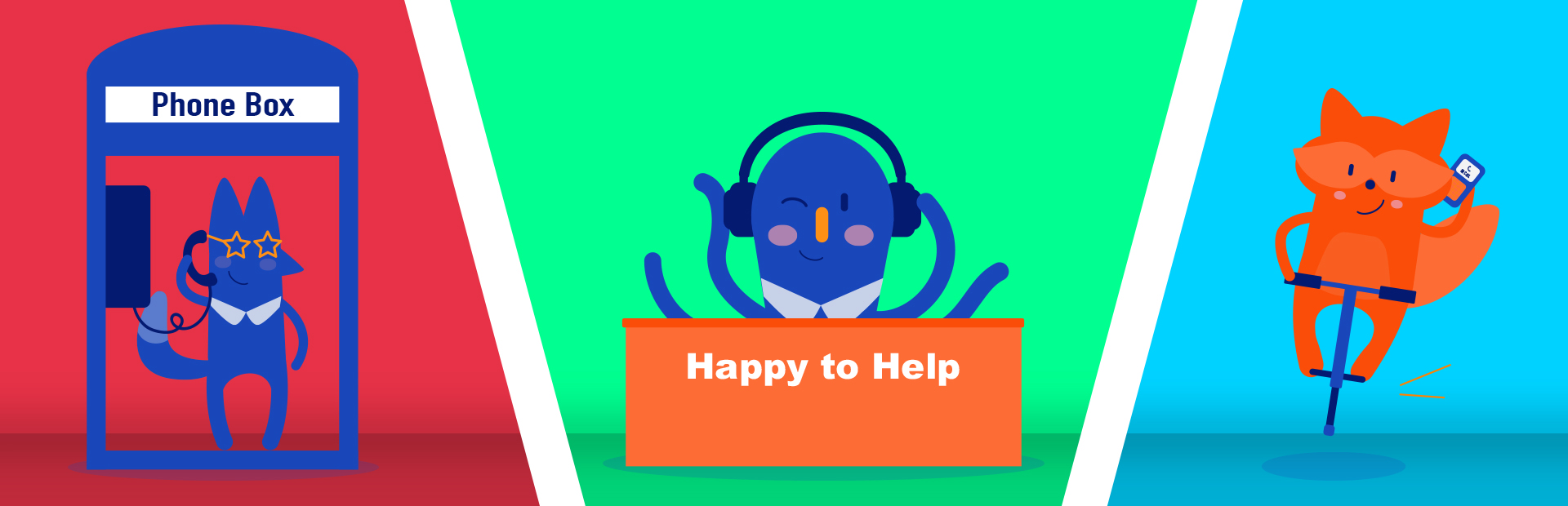 Three image sections, separated by diagonal lines: fox character on a phone box, octopus character on a desk with headphones, raccoon on pogo stick holding a mobile phone, representing The Printed Image's customer service and contact details